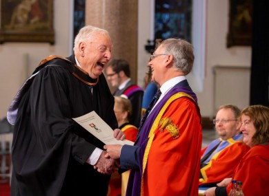 Tom, who turned 82 last week, pictured at today's graduation ceremony.