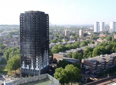 Grenfell Tower in west London the day after the fire.