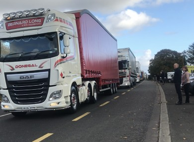 Truck drivers taking part said they want to show how the free movement of freight is vital to businesses and trade.