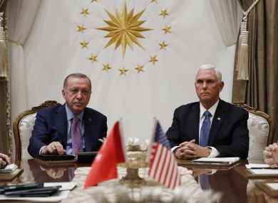 Turkish President Recep Tayyip Erdogan and US Vice President Mike Pence
