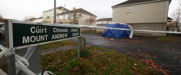 A Garda forensic tent at the scene of the incident in Lucan