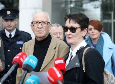 Geraldine and Patric Kriegel speaking to the media outside the CCJ in Dublin today.