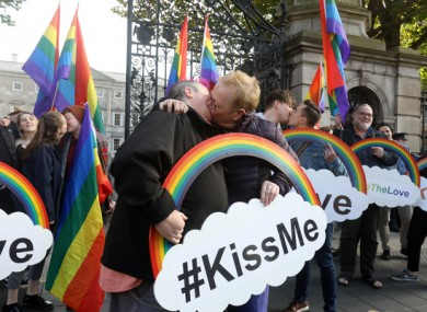 A kissing protest outside the Dáil today.