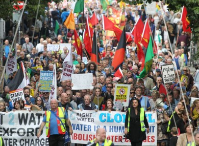 Water protest march through Dublin city in September 2016.