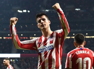 Atletico striker Alvaro Morata scored for sixth game running.