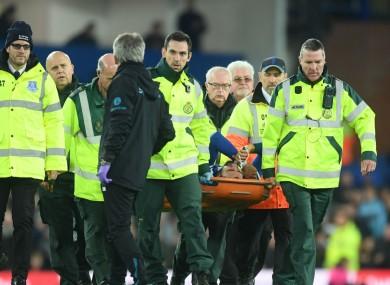 Everton's Andre Gomes stretchered off against Tottenham