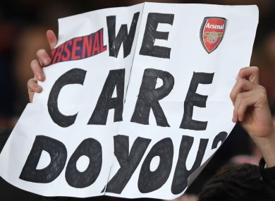 An Arsenal expresses frustration.
