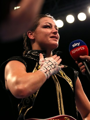 An emotional Katie Taylor reacts to the wall of noise from the Manchester crowd which greets her during her post-fight interview on Sky Sports.