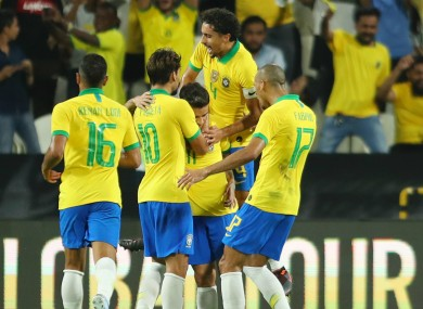 Brazil celebrate against South Korea.