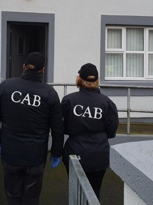 CAB officers carrying out the search in Tuam.