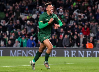 Ireland's Callum Robinson celebrates scoring the third goal against New Zealand.