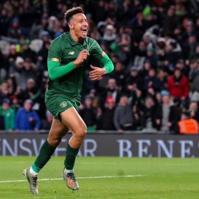 Ireland's Callum Robinson celebrates scoring the third goal against New Zealand.