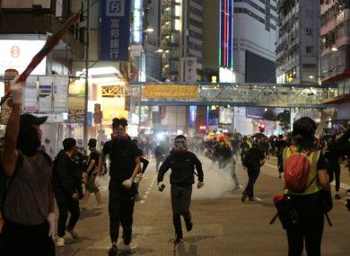 Rioters at the Causeway Bay area in Hong Kong.
