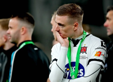 Dundalk's Daniel Kelly dejected after the game.