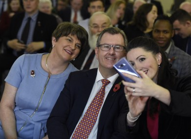 Arlene Foster, Jeffery Donaldson and Emma Little Pengelly pose for a selfie during the DUP party conference.