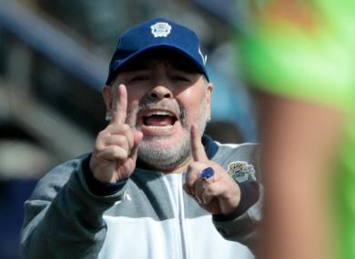 Back at it: Diego Maradona.