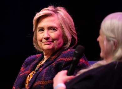 Hilary Clinton speaking in London on Sunday.