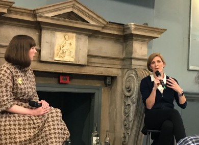 Samantha Power (right) speaking to TheJournal.ie's Aoife Barry in Trinity College Dublin