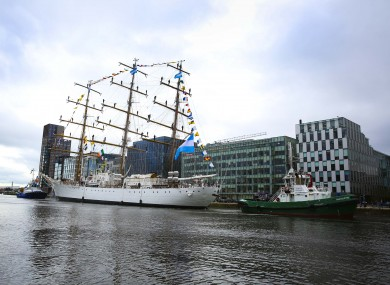 The Libertad arriving at Dublin Port on Friday.