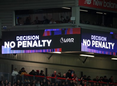 The VAR screen at Anfield.