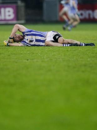 Ballyboden's Michael Darragh MacAuley down injured during Sunday's Dublin SFC final.