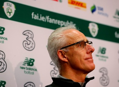 Mick McCarthy during his press conference today.