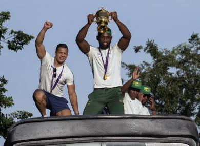 Captain Siya Kolisi holds up the Webb Ellis trophy earlier this week in Soweto.