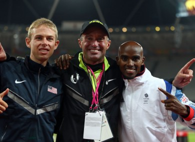 Mo Farah (right) with Alberto Salazar (centre) and Galen Rupp (left) at the 2012 London Olympics.