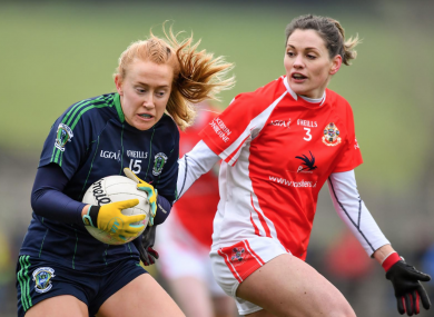 Jodi Egan of Foxrock-Cabinteely in action against Aisling Costello of Kilkerrin-Clonberne.