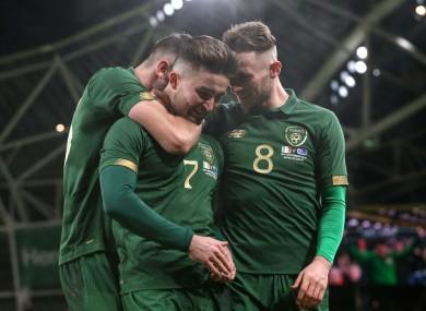 Sean Maguire celebrates his goal.