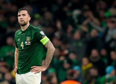 Ireland's Shane Duffy dejected at the final whistle.
