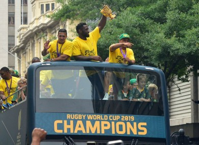 South Africa celebrate winning the Rugby World Cup.