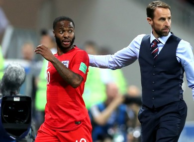 Raheem Sterling (L) with Gareth Southgate