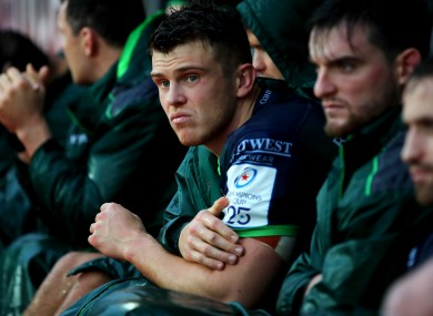 Connacht centre Tom Farrell looks on at his side's Heineken Champions Cup outing against Toulouse.
