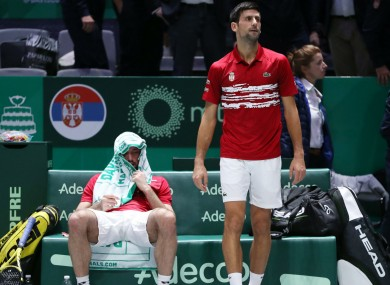 Viktor Troicki (left) and Novak Djokovic react after Serbia's defeat to Russia.