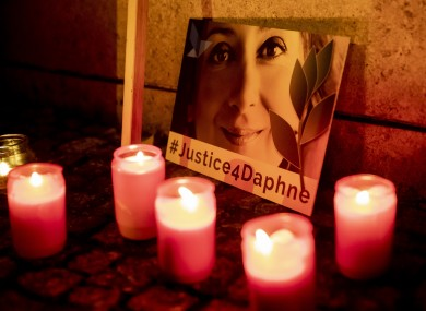 A vigil in front of the Maltese embassy on the second anniversary of journalist Daphne Caruana Galizia's murder in October this year.