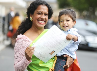 Joanna Dukkipati and her son Ethan Dukkipati McCarty, from India, at a citizenship ceremony held at the National Concert Hall in Dublin in September 2018.