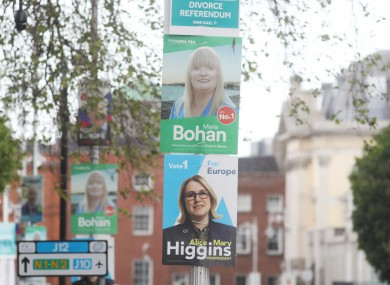 Election posters pictured in Dublin in May 2019.
