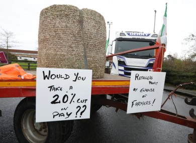 Farmers protesting in Naas today.