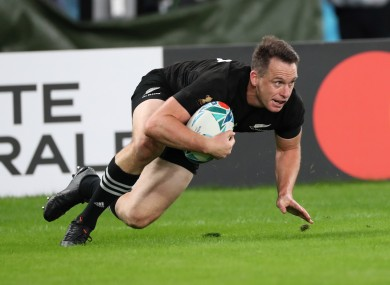 Ben Smith scoring a try for New Zealand against Wales at the 2019 Rugby World Cup.