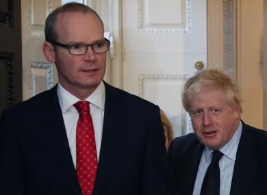 Boris Johnson with Minister Simon Coveney in Dublin in 2017.