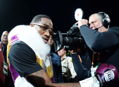 Adrien Broner emerges for his fight with Manny Pacquiao.