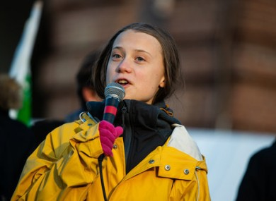 Greta Thunberg giving a speech in Turin earlier this month.