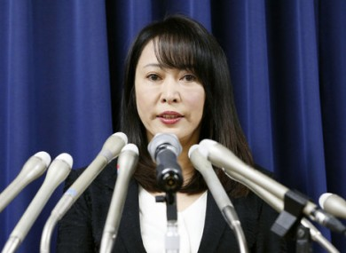 Japan's Minister of Justice Masako Mori speaks at a press conference for today's execution.