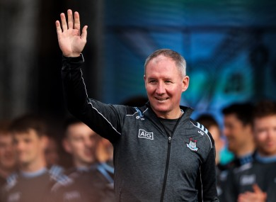Jim Gavin salutes the crowd at Dublin's homecoming in September.