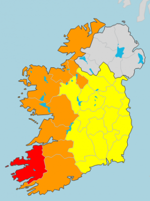 A status red wind warning has been issued for Kerry.