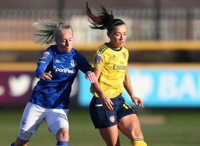 Katie McCabe in action for Arsenal today.