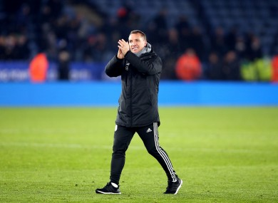 Rodgers applauding fans after yesterday's win over Everton.