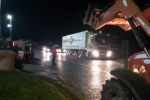 Farmers setting up the blockade outside the Lidl distribution centre this morning.