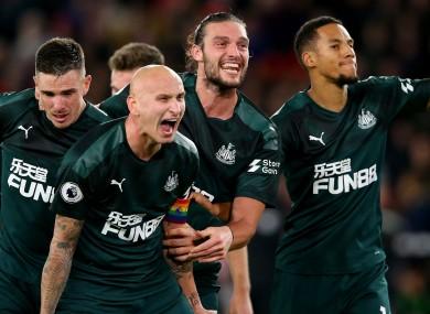 Newcastle United celebrate Jonjo Shelvey's goal